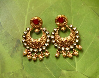 Antique Gold Finish Kundan And Pearl Bridal Earring /Kundan And Ruby Bridal Earring /Indian Wedding Jewelry /Bollywood Jewelry /Gift For Her