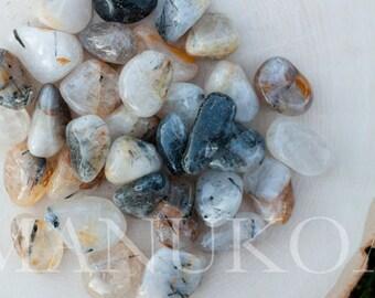 4 Tourmalinated Quartz Tumbled Stones | Tourmalated Quartz Specimens | Healing Stones | Healing Crystals | Crystal Specimen