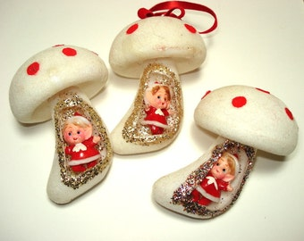 Vintage Christmas Ornaments Mushrooms Red White