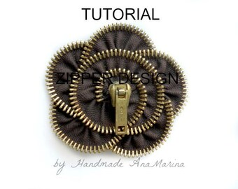 TUTORIAL, Zipper jewelry, JEWELLERY tutorial, PDF File, pattern zipper flower brooch tutorial, recycled jewelry tutorial Quick and easy gift