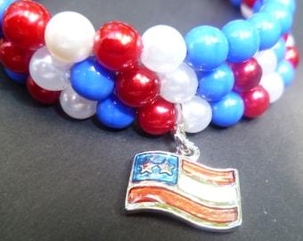 Handmade Beaded Bracelet- Handmade memory wire bracelet - Red white and blue beaded bracelet - wrap around bracelet