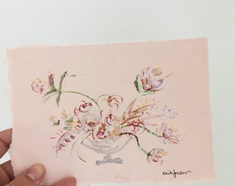 Shimmering abstract floral arrangement original watercolor painting