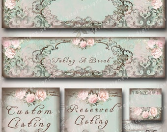 5 PC, includes 2 Cover banners and 1 shop icon and Placeholders Reserved and Custom, Charming Elegance, Taking Break, pink roses, aqua,