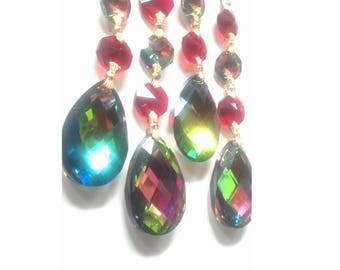 5 Vitrail Rainbow and Red Chandelier Crystals Teardrop Ornaments