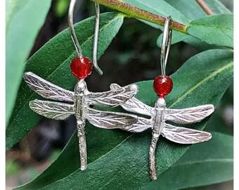 Dragonfly Earrings. Earrings Silver Dragonflies. Earrings Silver and carnelian dragonflies.