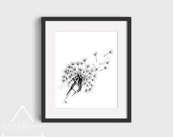 Digital Download - Dandelion, pen and ink drawing, art print, wall art, 5x7, 8x10, botanical flower art, printable art, hand drawn