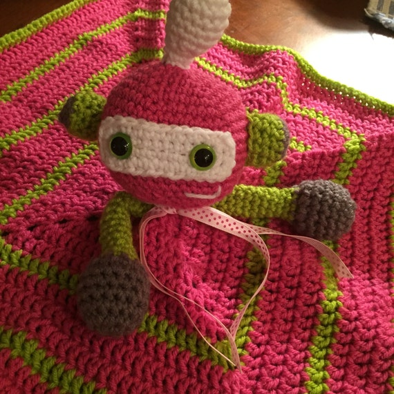 Hot Pink and Lime Robot/Alien Blanket Lovey