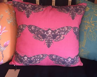 Organic cotton,Moth fabric cushion in dusky pink.