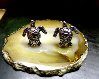SEA TURTLE STUD  Earrings Sterling Silver Free Shipping