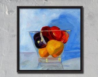 Still Life, Oil Painting, Original, Canvas, 12x12, Fruit Painting, Kitchen Art, Wall Decor, Pear, Plum, Peach, Lemon, Blue, Yellow, Red