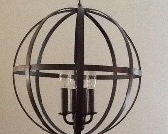 Industrial Style Orb Chandelier. Orb Chandelier. Industrial lighting. Chandelier. Vintage inspired orb chandelier