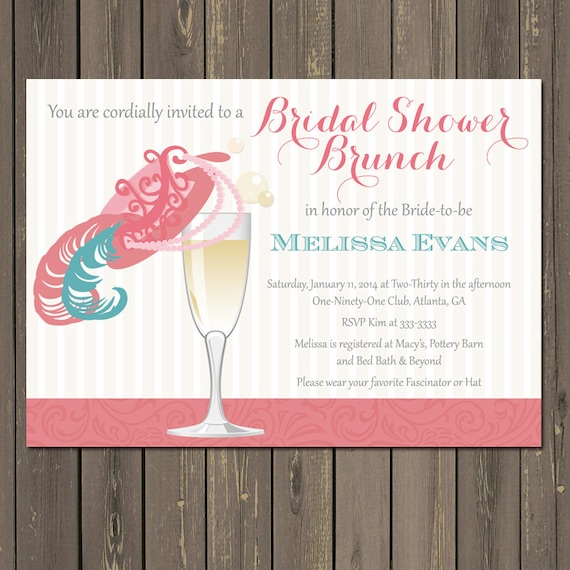 Bridal Shower Brunch Invitation Champagne Brunch Fancy Hat