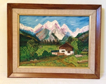 Swiss ALPS MOUNTAIN LANDSCAPE w Farm / Barn Impressionist Framed Signed Vintage