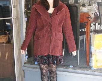 1970's Vintage Burgundy Suede Jacket by Sheep Mates - Size M/L