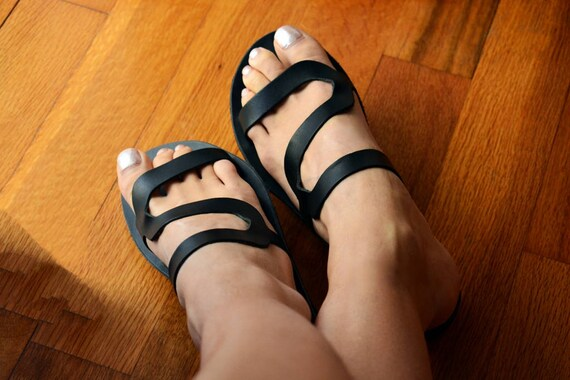 leather sandals slides Greek Black sandals sandals Black ''Thasos'' Slip Black on sandals YqSwES