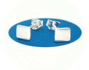 Small Silver Square Stud Earrings