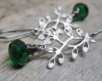 MIstletoe Earrings ... matte silver boughs with wire wrapped emerald green hydro quartz and artisan sterling earwires