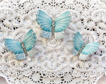 Reneabouquets Original Butterfly Set -  Winter Teal Sky Premium Paper Glitter Glass Butterflies