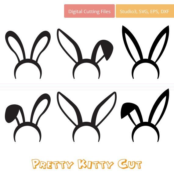 Rabbit Ears Silhouette SVG Monogram Easter Bu...