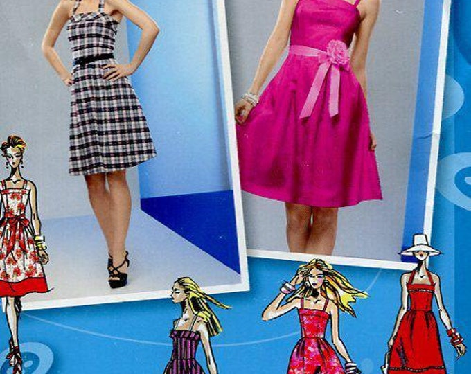 FREE US SHIP Simplicity 2176 Project Runway Summer Dress Strap Halter Designer Size 4-12 Bust 29-34  Out of Print 2011 Uncut