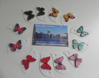 10 labels/markings glass square 6 cm BUTTERFLIES design