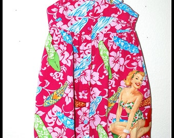 Girls Rockabilly Dress Pink Surfboards and Pinup Girl