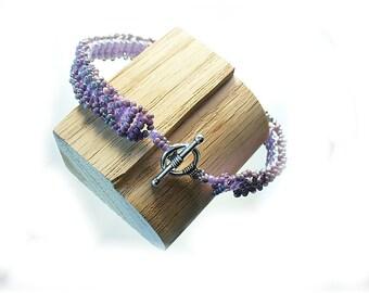 Ladder Stitch Peyote Bracelet in Lavender Seed Beads - Stacking Friendship Gift  B2014-08