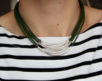 6 strand leather necklace with 6 noodle beads, silver plated beads, leather cord, magnetic clasp, various colours available, gift idea