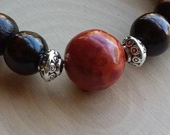Healing Crystal bracelet: Red Coral & Coconut Wood