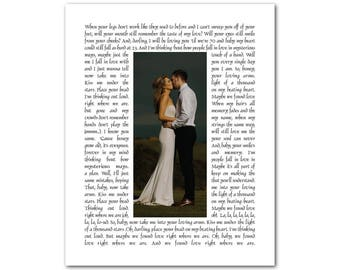 Personalized Song Lyrics with Photo - Any Song Lyrics or Wedding Vows - Wedding Song Photo PRINT - Anniversary Gift - Gift for couple