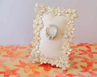 Wedding ring holder rectangle pearl poppy frame: engagement ring holder, bridal shower gift, for her, ring stand
