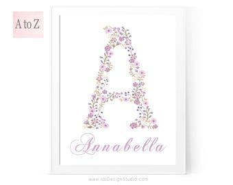 Name Print, Purple Flower Print, Floral Letter Print, Custom Print, Personalized Gift, Cadre, Monogram Print, Wall Art, Gift Ideas, D1-2