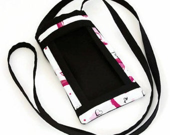iPhone Fabric Cell Phone Pouch, Cell Phone Carrier, Smart Phone Pouch, Women's Accessories, Cell Phone Purse, Pink Ribbons, Breast Cancer
