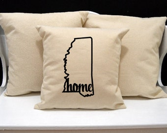 Mississippi Home Pillow, Mississippi Pillow, home pillow, pillow gift, Mississippi gift, Envelope Pillow Cover, state pillow, MS pillow