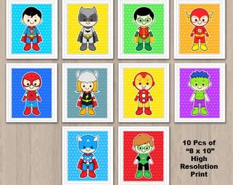 Superhero Wall Art, Superhero Wall Print, Superhero Nursery Decor, Superhero room decor, Superhero Digital Print