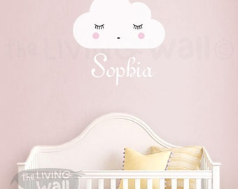Personalized Baby Name Wall Decal, Girl Name Whith Dreaming Cloud Nursery Wall Sticker, Removable Wall Decals Australian Made