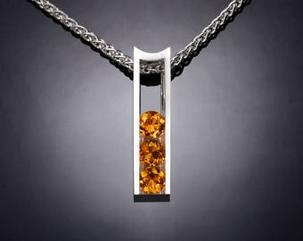 citrine necklace, November birthstone, citrine pendant, Argentium silver, eco-friendly, yellow gemstone, gemstone jewelry, for her - 3503