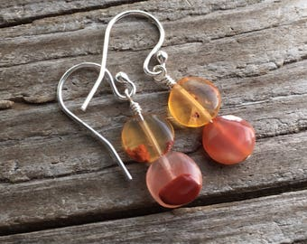 Mexican Fire Opal Earrings