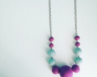 Berwyn Felt Necklace in Grape / Aqua, Graduated Beaded Necklace, Color Block, Pastel Purple Blue, Teen Gift, Gift Under 50, Felted Necklace