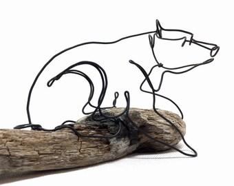 Bear Wire Sculpture, Bear Art, Minimal Sculpture, Calder Inspired Wire Sculpture, 603054583