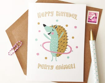 Hula Hedgehog Birthday Card - Happy Birthday Party Animal, Humor, Friend Birthday