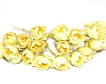 Miniature Polymer Clay Flowers Supplies Creamy Yellow Lotus with Leaves 6 stems