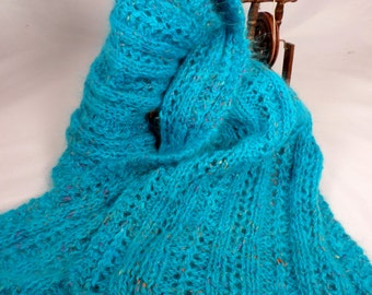Turquoise Scarf of Angora and Silk