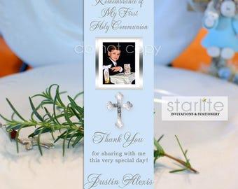 First Communion Favors Boy | 1st Communion Book Mark Favors | Printed Bookmarks | Printable Bookmark Favors | Personalized Communion Favors