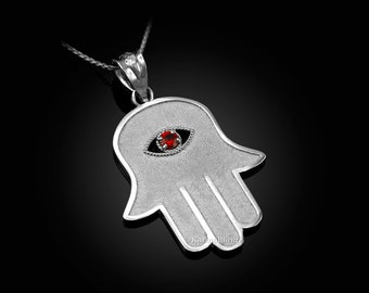 Sterling Silver Hamsa Red CZ Evil Eye Pendant Necklace
