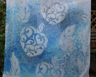 Blue Scarf Watercolour Chiffon Star. One of a Kind. Silver feather. Silver calligraphy heart