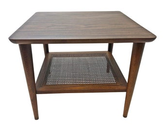Merveilleux Danish Modern LANE ACCENT TABLE ~ Cane Wicker Shelf Mid Century Vintage End  Side Eames Era 2 Tier Brown Laminate Wood Wooden 50s 60s Walnut