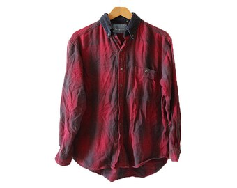 Vintage Corduroy Collar Red Flannel Shirt Size Small