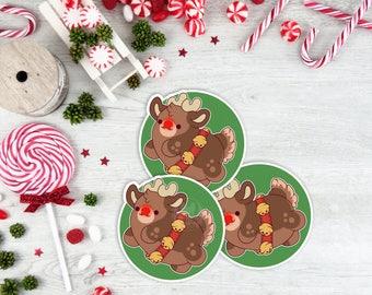 Kawaii Rudolph the Reindeer Nugget Christmas Sticker