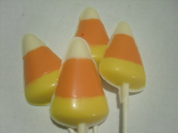 A dozen Candy Corn Lollipops